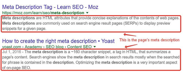 Meta description and title tags