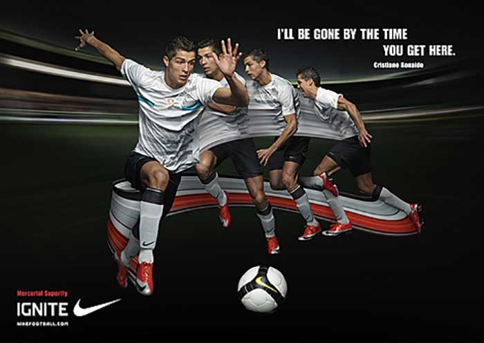 Cristiano Ronaldo, a European and global football star, endorses Nike, the sportswear company.