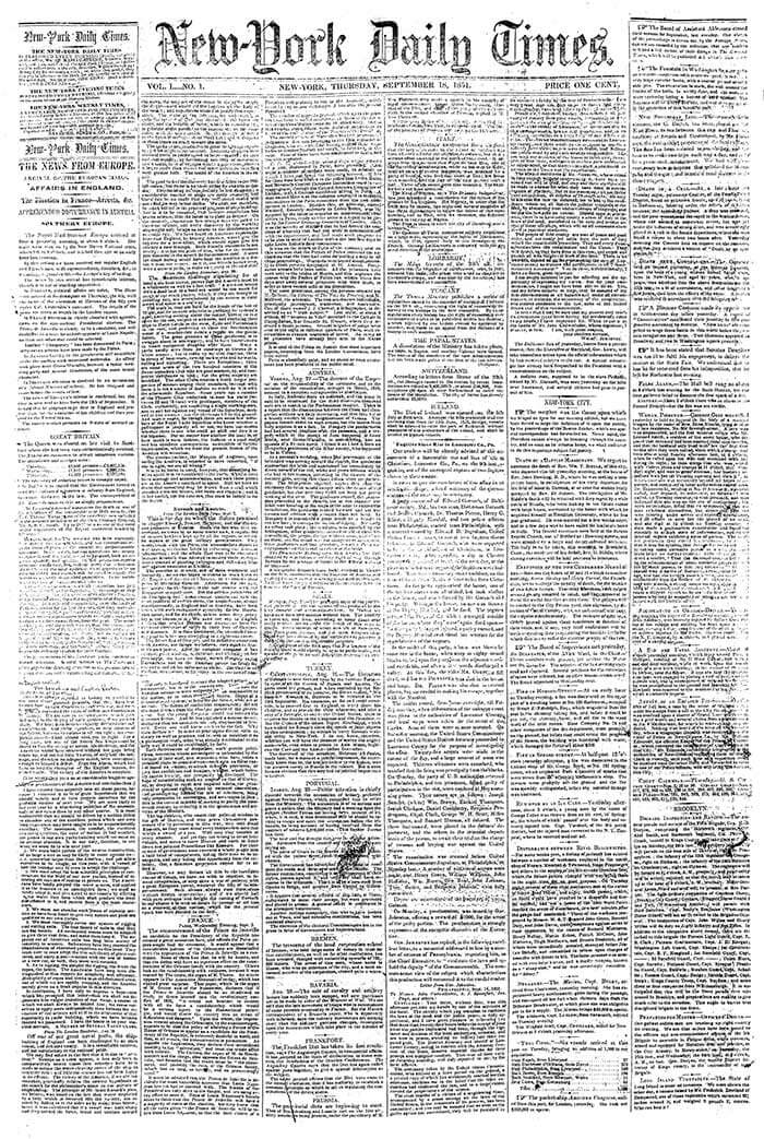 the first issue of The New York Times