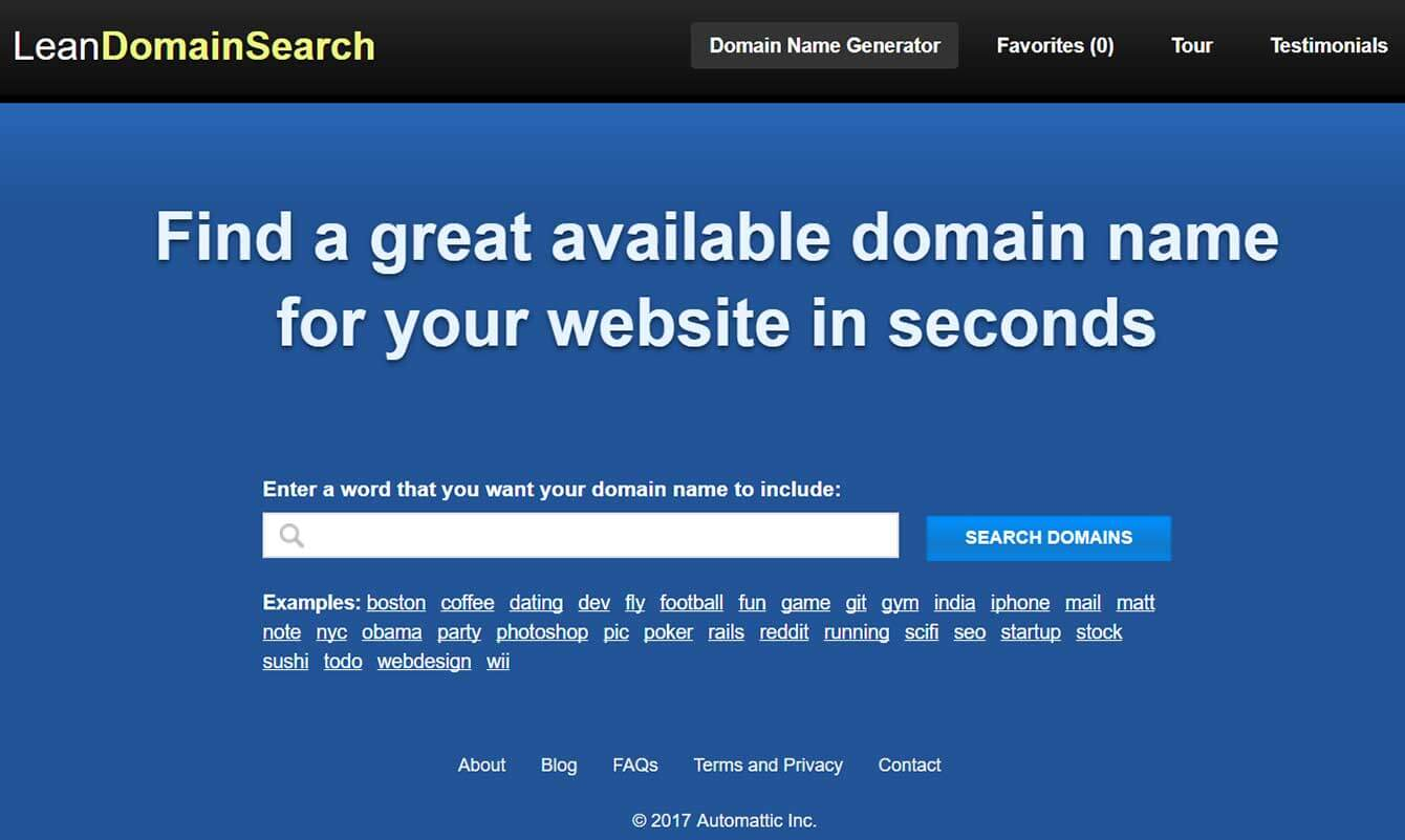LeanDomainSearch (allows you to find an unoccupied domain name)