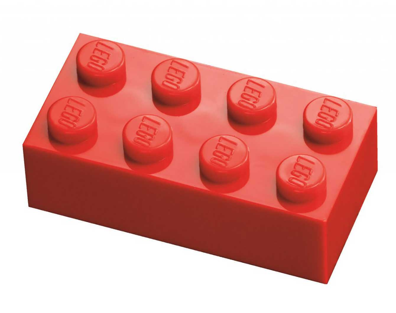 Every brick has at least one logo and all of them are colored in bright, vivid colors